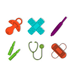Medical tool icon set color outline style vector