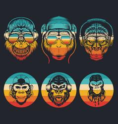 monkey music collection retro vector image