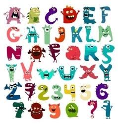 Monster funny cut aphabet with English letter vector image