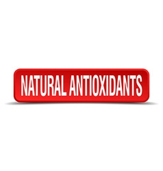 Natural antioxidants red 3d square button isolated vector
