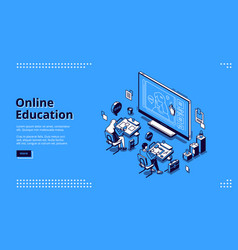 online education isometric landing page web banner vector image