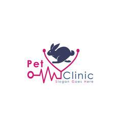 Pet care and veterinary logo stethoscope vector