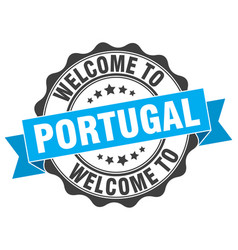 Portugal round ribbon seal vector