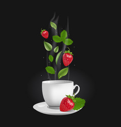 Realistic strawberry tea vector
