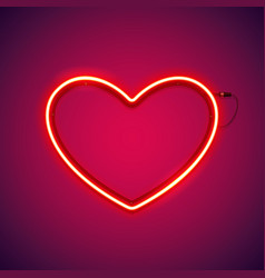 red romantic neon heart vector image