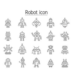 Robot icon set in thin line style vector