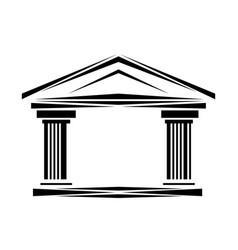 Roman classical arch logo facade ionic columns vector