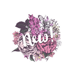 Round floral design with text new vector