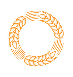 Round frame with border made of ears of wheat vector