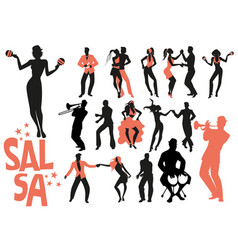 Salsa dance clipart collection set latin music vector