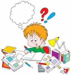 Schoolboy with homework vector