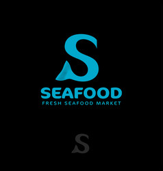 seafood logo letter with fish tail s monogram vector image