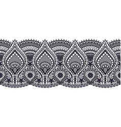 Seamless black lace ribbon isolated on white vector