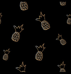 seamless golden pineapple pattern on dark vector image