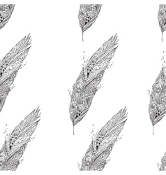 Seamless monochrome pattern with feathers vector image