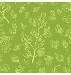 Seamless pattern with leaves on the light green co vector image