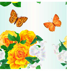 Seamless texture bouquet yellow roses vector