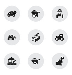 Set of 9 editable building icons includes symbols vector