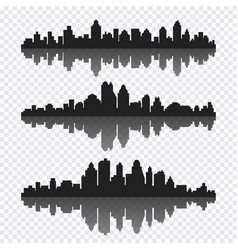 set of different black horizontal cityscape with vector image