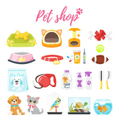 set of pet shop icons vector image