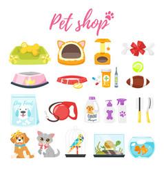 Set of pet shop icons vector