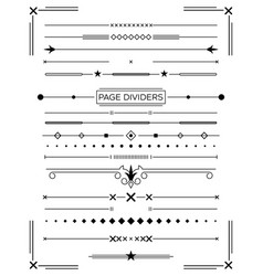 Set retro decorative page dividers and design vector