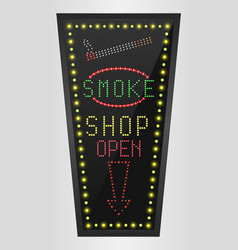 Shining retro light banner smoke shopping vector