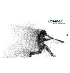 Silhouette a baseball player from particle vector