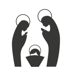 silhouette of the Christmas manger figure vector image