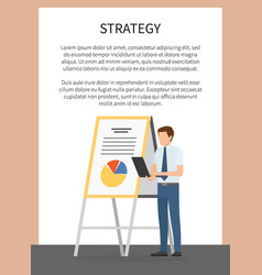 Strategy concept poster with male worker report vector