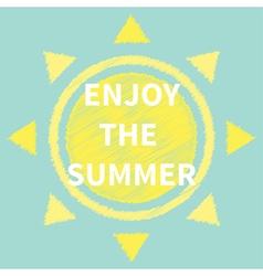 Sun Scribble effect Enjoy the summer flat vector