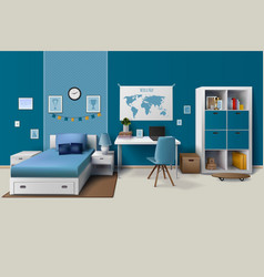 Teen Boy Room Interior Realistic Image vector image
