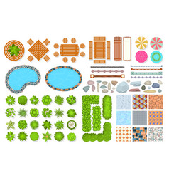 Top view park items public furniture outdoor vector