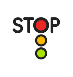 Traffic light isolated icon red lights stop vector