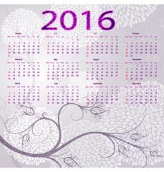 violet floral calendar 2016 vector image
