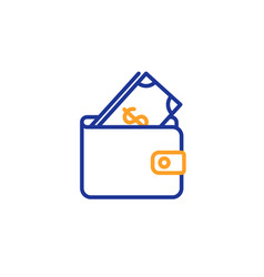 Wallet with cash money line icon vector