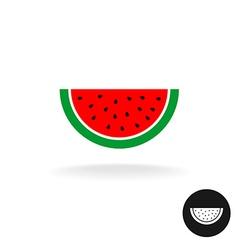 Watermelon half slice flat style color icon logo vector