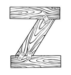 wooden letter z engraving vector image