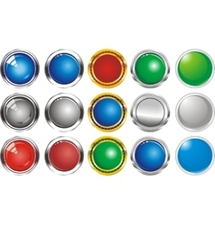 A set of buttons icons grey gloss vector image