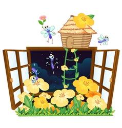 flies bird house and window vector image vector image