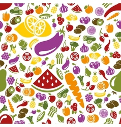fruits and vegetable seamless pattern vector image