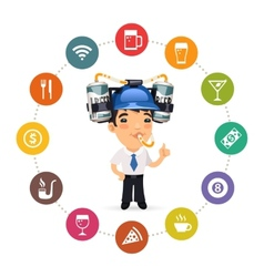 Manager with Blue Beer Helmet on His Head vector image
