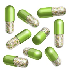 Medical green capsule with granules vector image