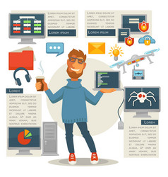 poster in programming concept programmer man with vector image vector image