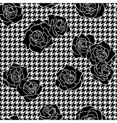 Roses with houndstooth background vector image