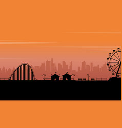 Silhouette park at the sunset scenery vector