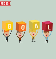Business man showing GOAL box - - EPS10 vector image vector image