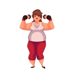 Fat woman training with dumbbells doing vector image