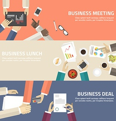 Flat design concept for business meeting lunch vector image vector image