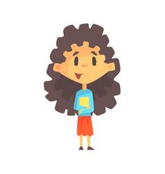 girly girl with long dark hair holding books vector image